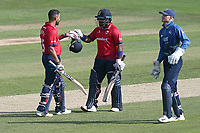 Ashar Zaidi of Essex congratulates Ravi Bopara (L) on his century during Essex Eagles vs Kent Spitfires, Royal London One-Day Cup Cricket at The Cloudfm County Ground on 6th June 2018