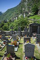 Switzerland. Canton Ticino. Brontallo is a village in the municipality Lavizzara of Vallemaggia. Cemetery. 7.7.2020  © 2020 Didier Ruef