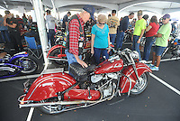 NWA Democrat-Gazette/MICHAEL WOODS • @NWAMICHAELW<br /> Robert Camp and his wife Donna Camp of Springdale, take a look at a 1947 Indian Chief on display at the Second Annual Ozark Vintage Motorcycle Association BBB Vintage Bike Show Saturday September 26, 2015 at Arrest Ballpark in Springdale. The 16th annual Bikes, Blues and BBQ Motorcycle Rally runs through Saturday on Dickson Street, Baum Stadium and the Washington County Fairgrounds in Fayetteville and all day Saturday at Arvest Ballpark in Springdale.