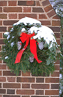 Residential Christmas wreath decoration. St Paul Minnesota USA