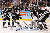 Kyle McKenzie (PC - 5), Noel Acciari (PC - 24), Jon Gillies (PC - 32), Nick Saracino (PC - 18) - The Providence College Friars defeated the Boston University Terriers 4-3 to win the national championship in the Frozen Four final at TD Garden on Saturday, April 11, 2015, in Boston, Massachusetts.
