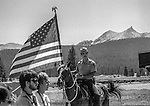 "Tuolumne Meadows, August 24, 1985:  Yosemite park ranger from the mounted patrol with Unicorn Peak in background.  Mount Ansel Adams, an 11,700 foot peak in a remote section of Yosemite National Park was dedicated Saturday, August 24, 1985, in a ceremony recognizing the famed photographer for his contribution to the American conservation movement. Adams was eulogized as a man who dedicated his life to photography and the preservation of planet Earth. The dedication ceremony was led by Adams' son, Dr. Michael Adams of Fresno, and attended by Adams' widow, Virginia Adams, Secretary of the Interior Donald Hodel, Sen. Alan Cranston, D-California, National Park Service Director William Penn Mott, actor Robert Redford, and other environmental and conservation leaders. In 1932, Ansel Adams and several Sierra Club companions first climbed the peak, according to Virginia Adams, who added that ""Ansel loved its tower shape. He called it 'The Tower' on the Lyell Fork of the Merced River. After they came down from climbing it, they sat around the campfire and one of them suggested that they name it Mount Ansel Adams."" Informally, that is what the Sierra Club did, calling the peak Mount Ansel Adams in the Sierra Club Guide until 53 years later the peak was finally officially named.  Photo by Al Golub/Golub Photography"