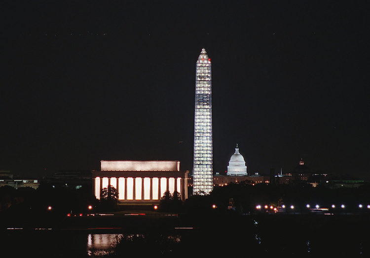 4-29-99.WASHINGTON D.C. SKYLINE--The Lincoln Memorial, Washington Monument under renovation and covered in scaffolding and the U.S. Capitol all line up to form a classic  Washington D.C. skyline..CONGRESSIONAL QUARTERLY PHOTO BY DOUGLAS GRAHAM