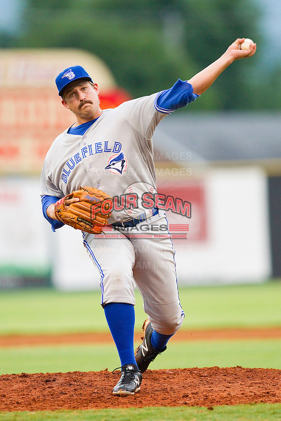Bluefield Blue Jays relief pitcher Griffin Murphy #28 in action against the Elizabethton Twins at Joe O'Brien Field on July 14, 2012 in Elizabethton, Tennessee.  The Twins defeated the Blue Jays 4-0.  (Brian Westerholt/Four Seam Images)