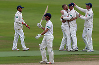 Jamie Porter of Essex celebrates taking the wicket of Sam Hain during Warwickshire CCC vs Essex CCC, Specsavers County Championship Division 1 Cricket at Edgbaston Stadium on 11th September 2019