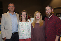 NWA Democrat-Gazette/CARIN SCHOPPMEYER Shannon and Kristin Richmond (from left) visit with Dana and Jason Luper at Cupcakes & Cocktails.