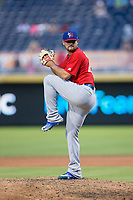 Buffalo Bisons relief pitcher Leonel Campos (45) in action against the Durham Bulls at Durham Bulls Athletic Park on April 30, 2017 in Durham, North Carolina.  The Bisons defeated the Bulls 6-1.  (Brian Westerholt/Four Seam Images)