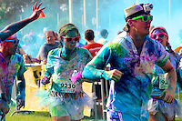 Justin Blakely closes in on the finish line of the Color Me Rad 5K at the Jacksonville Equestrian Center.