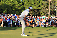 Haotong Li (CHN) misses his putt to tie the playoff hole at the end of Sunday's Final Round of the 2018 Turkish Airlines Open hosted by Regnum Carya Golf &amp; Spa Resort, Antalya, Turkey. 4th November 2018.<br /> Picture: Eoin Clarke | Golffile<br /> <br /> <br /> All photos usage must carry mandatory copyright credit (&copy; Golffile | Eoin Clarke)