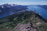 The small fishing town of Cordova, Alaska, seen from atop Mt. Eyak.  Prince William Sound, Cordova, Alaska, USA