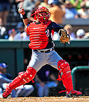 5 March 2009: Washington Nationals' catcher Javier Valentin in action during a Spring Training game against the Detroit Tigers at Joker Marchant Stadium in Lakeland, Florida. The Tigers defeated the visiting Nationals 10-2 in the Grapefruit League matchup. Mandatory Photo Credit: Ed Wolfstein Photo