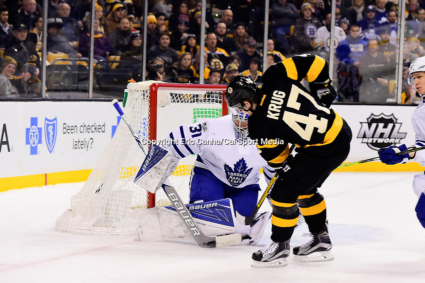 Saturday, February 4, 2017: Toronto Maple Leafs goalie Frederik Andersen (31) makes a save on a shot by Boston Bruins defenseman Torey Krug (47) during the National Hockey League game between the Toronto Maple Leafs and the Boston Bruins held at TD Garden, in Boston, Mass. Eric Canha/CSM
