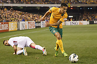 MELBOURNE, 11 JUNE 2013 - Tim CAHILL of Australia wins the ball in a Round 4 FIFA 2014 World Cup qualifier match between Australia and Jordan at Etihad Stadium, Melbourne, Australia. Photo Sydney Low for Zumapress Inc. Please visit zumapress.com for editorial licensing. *This image is NOT FOR SALE via this web site.