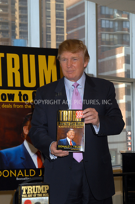 Businessman and TV show host Donald Trump signed copies of his book 'How to get rich' in New York City. March 24 2004.  Please byline: AJ SOKALNER/ACE Pictures.   ..*PAY-PER-USE*      ....IMPORTANT: Please note that our old trade name, NEW YORK PHOTO PRESS (NYPP), is replaced by new name, ACE PICTURES. New York Photo Press and ACE Pictures are owned by All Celebrity Entertainment, Inc.......All Celebrity Entertainment, Inc:  ..contact: Alecsey Boldeskul (646) 267-6913 ..Philip Vaughan (646) 769-0430..e-mail: info@nyphotopress.com