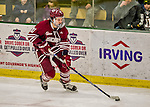 15 November 2015: University of Massachusetts Minuteman Defenseman Ben Gallacher, a Senior from Calgary, Alberta, in action against the University of Vermont Catamounts at Gutterson Fieldhouse in Burlington, Vermont. The Minutemen rallied from a three goal deficit to tie the game 3-3 in their Hockey East matchup. Mandatory Credit: Ed Wolfstein Photo *** RAW (NEF) Image File Available ***