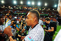 Fiji captain Eroni Sau celebrates victory at the end of day two of the 2018 HSBC World Sevens Series Hamilton at FMG Stadium in Hamilton, New Zealand on Saturday, 3 February 2018. Photo: Dave Lintott / lintottphoto.co.nz