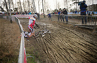 Gianni Vermeersch (BEL) collides with a crashed Mathieu van der Poel (NLD)<br /> <br /> GP Sven Nys 2014 / U23