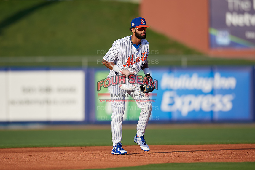 St. Lucie Mets second baseman Manny Rodriguez (13) during a Florida State League game against the Florida Fire Frogs on April 12, 2019 at First Data Field in St. Lucie, Florida.  Florida defeated St. Lucie 10-7.  (Mike Janes/Four Seam Images)