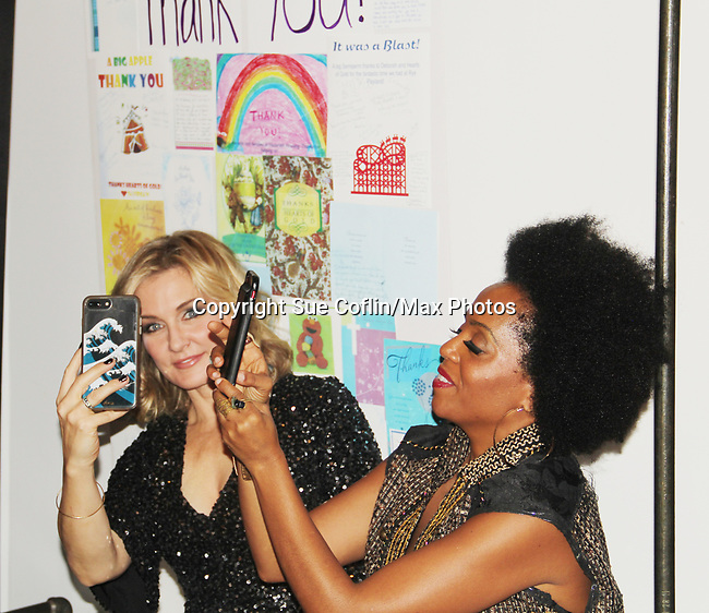 Amy Carlson & Rhonda Ross- Hearts of Gold annual All That Glitters Gala - 24 years of support to New York City's homeless mothers and their cildren - (VIP Reception - Silent Auction) was held on November 7, 2018 at Noir et Blanc and the 40/40 Club in New York City, New York.  (Photo by Sue Coflin/Max Photo)