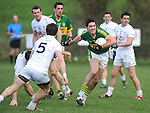 25-02-12: Bryan Sheehan, Kerry, breaks away from Emmet Bolton, Michael Foley and Ronan Sweeney,  Kildare, during the senior football challenge match between Kerry and Kildare at the Ballymacelligott GAA Club official pitch reopening on Saturday.  Picture: Eamonn Keogh (MacMonagle, Killarney)