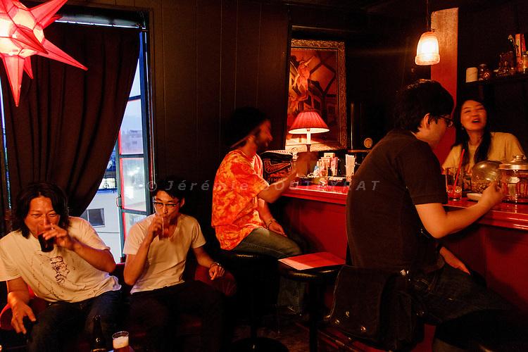 "Tokyo, June 5 2013 - Bar ""Le sang des poetes"" in the Harajuku area."