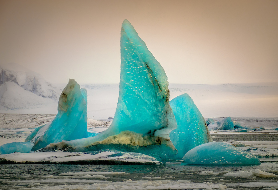 JOKULSARLON, ICELAND - CIRCA MARCH 2015: Iceberg in the  Jökulsárlón glacial lagoon in Iceland on the edge of Vatnajökull National Park