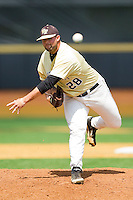 Wake Forest Demon Deacons relief pitcher Zach White #28 in action against the Georgia Tech Yellow Jackets at Wake Forest Baseball Park on April 15, 2012 in Winston-Salem, North Carolina.  The Demon Deacons defeated the Yellow Jackets 11-3.  (Brian Westerholt/Four Seam Images)