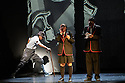 """London, UK. 04.05.2016. ZooNation Dance Company  present """"Into the Hoods: Remixed"""" at the Peacock Theatre. Picture shows:  Andry Oporia (Landlord), Jenai Mason-Smith (Lost Kid), Tyreese Remy-Henderson (Lost Kid). Photograph © Jane Hobson."""