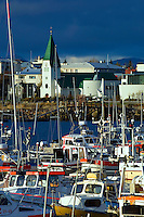Fishing boats in Reykjavik harbor, capital of Iceland.