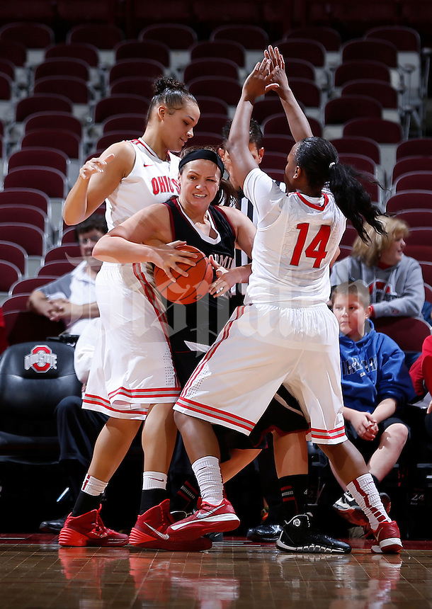 Ohio State Buckeyes center Ashley Adams (33) and Ohio State Buckeyes guard Ameryst Alston (14) double team Bellarmine Knights forward Morgan Clemons (40) in the first half of the college basketball game between the Ohio State Buckeyes and the Bellarmine Knights at Value City Arena in Columbus,  Sunday afternoon, November 3, 2013. As of half time the Ohio State Buckeyes led the Bellarmine Knights 51 - 28. (The Columbus Dispatch / Eamon Queeney)