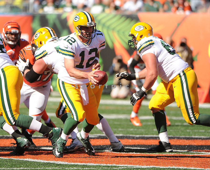 Green Bay Packers Aaron Rodgers (12) during a game against the Cincinnati Bengals on September 22, 2013 at Paul Brown Stadium in Cincinnati, OH. The Bengals beat the Packers 34-30.