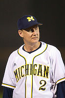 Michigan Wolverines head coach Rich Maloney #2 during a game against the Pittsburgh Panthers at the Big Ten/Big East Challenge at Florida Auto Exchange Stadium on February 17, 2012 in Dunedin, Florida.  (Mike Janes/Four Seam Images)