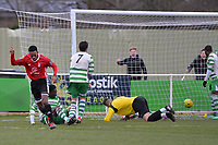 Kensley Maloney of Bracknell Town scores there third Goal and celebrates during Waltham Abbey vs Bracknell Town, Bostik League South Central Division Football at Capershotts on 9th February 2019