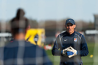 Sky Blue FC goalkeeper coach Nate Kipp. Sky Blue FC defeated the Western New York Flash 1-0 during a National Women's Soccer League (NWSL) match at Yurcak Field in Piscataway, NJ, on April 14, 2013.