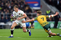 Owen Farrell of England gets past Michael Hooper of Australia. Quilter International match between England and Australia on November 24, 2018 at Twickenham Stadium in London, England. Photo by: Patrick Khachfe / Onside Images