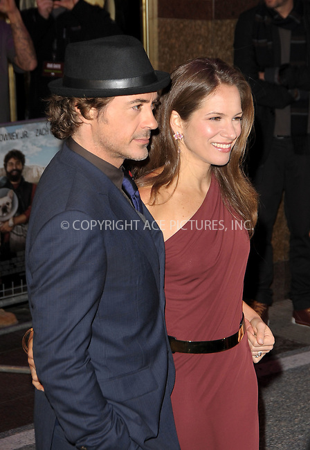 WWW.ACEPIXS.COM . . . . .  ..... . . . . US SALES ONLY . . . . .....November 3 2010, London....Robert Downey Jr and his wife Susan at the UK premiere of 'Due Date' on November 3 2010 in London....Please byline: FAMOUS-ACE PICTURES... . . . .  ....Ace Pictures, Inc:  ..Tel: (212) 243-8787..e-mail: info@acepixs.com..web: http://www.acepixs.com