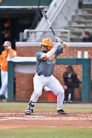 Tennessee Volunteers first baseman Pete Derkay (10) awaits a pitch during a game against the University of North Carolina Greensboro (UNCG) Spartans at Lindsey Nelson Stadium on February 24, 2018 in Knoxville, Tennessee. The Volunteers defeated Spartans 11-4. (Tony Farlow/Four Seam Images)