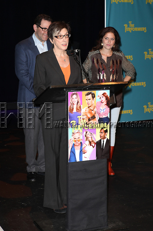 "Producer Scott M. Delman, producer Robyn Goodman and producer Amanda Lipitz attends press event to introduce the cast and creators of the new Broadway play ""The Performers""at the Hard Rock Cafe on Tuesday, Sept. 25, 2012 in New York."