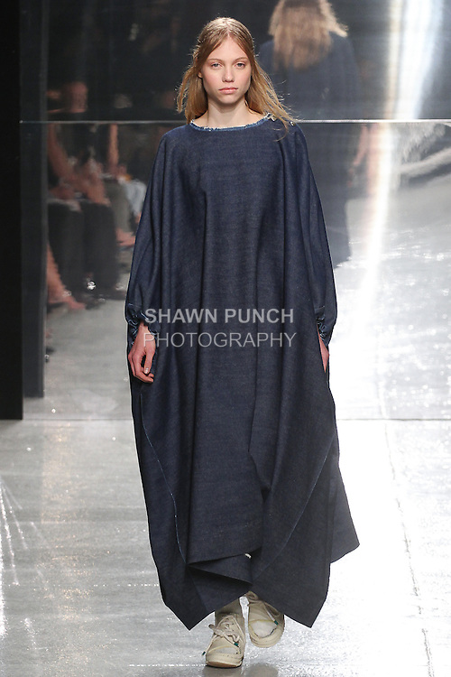 Model walks runway in an outfit by Claire McKinney the Liz Claiborne Award 2015 - Concept to Product winner, during the 2015 Pratt Institute annual fashion show, on May 7, 2015.