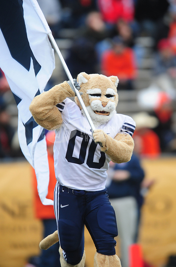 Dec. 18, 2010; Albuquerque, NM, USA; BYU Cougars mascot Cosmo against the UTEP Miners in the 2010 New Mexico Bowl at University Stadium. BYU defeated UTEP 52-24. Mandatory Credit: Mark J. Rebilas-