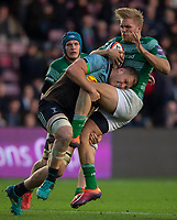Newcastle Falcons'  Chris Harris is tackled by Harlequin's Alex Dombrandt<br /> <br /> Photographer Bob Bradford/CameraSport<br /> <br /> Premiership Rugby Cup Round 2 Pool 1 - Harlequins v Newcastle Falcons - Sunday 4th November 2018 - Twickenham Stoop - London<br /> <br /> World Copyright © 2018 CameraSport. All rights reserved. 43 Linden Ave. Countesthorpe. Leicester. England. LE8 5PG - Tel: +44 (0) 116 277 4147 - admin@camerasport.com - www.camerasport.com