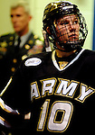 March 13, 2010:  Army center, Drew Pierson (10),waits to take the ice for Atlantic Hockey Association tournament action between Army and Air Force at Cadet Ice Arena, U.S. Air Force Academy, Colorado Springs, Colorado.  Air Force defeats Army 4-2 and advances to the semi-final round of the Atlantic Hockey Association Conference Tournament.