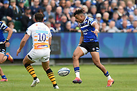 Anthony Watson of Bath Rugby puts boot to ball. Gallagher Premiership match, between Bath Rugby and Wasps on May 5, 2019 at the Recreation Ground in Bath, England. Photo by: Patrick Khachfe / Onside Images