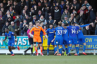 GOAL - Joe Pigott of AFC Wimbledon celebrates his winning goal during the Sky Bet League 1 match between AFC Wimbledon and Bristol Rovers at the Cherry Red Records Stadium, Kingston, England on 17 February 2018. Photo by Carlton Myrie.