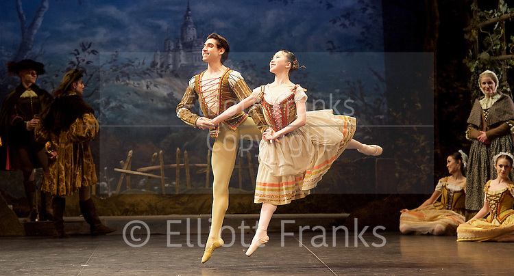 Giselle <br /> English National Ballet at The London Coliseum, London, Great Britain <br /> rehearsal <br /> 10th January 2017 <br /> <br /> <br /> <br /> Rina Kanehara <br /> Cesar Corrales <br /> Peasant pas de deux <br /> <br /> <br /> <br /> <br /> Photograph by Elliott Franks <br /> Image licensed to Elliott Franks Photography Services