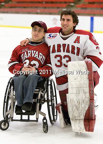 ?, Kyle Richter (Harvard - 33) - The Harvard University Crimson defeated the St. Lawrence University Saints 4-3 on senior night Saturday, February 26, 2011, at Bright Hockey Center in Cambridge, Massachusetts.