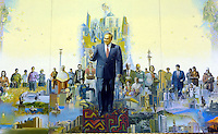 A painting of Nursultan Nazaarbayev in Astana, the capitol of Kazakstan.<br />