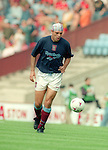 Savo Milosevic of Aston Villa warms up on his debut with distinctive headgear  - Barclays Premier League - Aston Villa v Manchester Utd - Villa Park Stadium - Birmingham - England - 19th August 1995 - Picture Sportimage