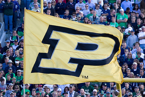 Purdue banner after touchdown in game action during NCAA football game between the Notre Dame Fighting Irish and the Purdue Boilermakers.  Notre Dame defeated Purdue 23-12 in game at Notre Dame Stadium in South Bend, Indiana.