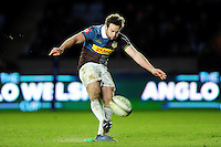 Ruaridh Jackson of Harlequins kicks for the posts. Anglo-Welsh Cup match, between Harlequins and Sale Sharks on February 3, 2017 at the Twickenham Stoop in London, England. Photo by: Patrick Khachfe / JMP